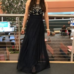 Navy sequined prom dress evening long